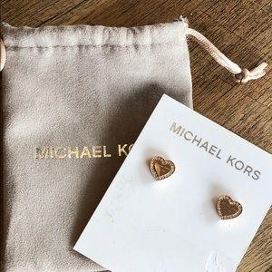 Brand new Michael Kors heart pave earrings